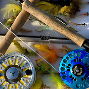 Fly fishing tools of the trade. Sage TCX 10 Weight with Riptide Tibor Reel and Super 8 Abel Reel Blue Camo with Loomis GLX 9 Weight Rod.<br />