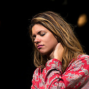 """July 10, 2015 - New York, NY : Alia Attallah performs in a dress rehearsal for Portland Center Stage<br /> and A Contemporary Theatre (ACT)'s presentation of Yussef El Guindi's """"Threesome"""" at 59E59 on Friday evening. CREDIT: Karsten Moran for The New York Times"""