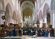 Interior of the Grote Kerk, Haarlem', 1673. Oil on oak. Gerrit Berckheyde (1638-1698) Dutch painter. Seated congregation listening to a sermon.  Architecture Gothic Netherlands Chandelier Brass