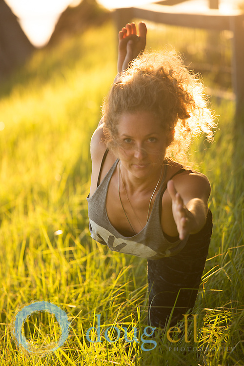 Hula hoop and yoga photos in nature at Esalen Institute.
