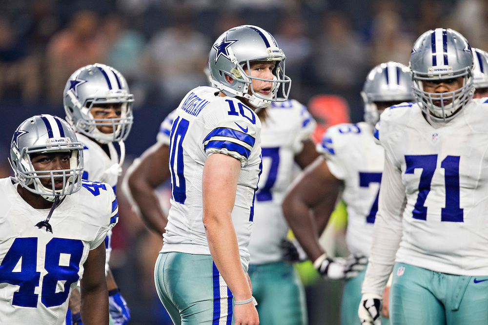 ARLINGTON, TX - SEPTEMBER 3:  Dustin Vaughan #10 of the Dallas Cowboys looks to the sidelines during a preseason game against the Houston Texans at AT&T Stadium on September 3, 2015 in Arlington, Texas.  The Cowboys defeated the Texans 21-14.  (Photo by Wesley Hitt/Getty Images) *** Local Caption *** Dustin Vaughan