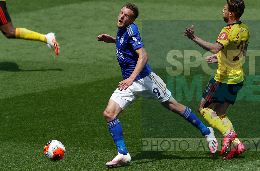 Jamie Vardy of Leicester City is clipped by Kiko Femenia of Watford during the Premier League match at Vicarage Road, Watford. Picture date: 20th June 2020. Picture credit should read: Darren Staples/Sportimage