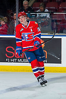 KELOWNA, BC - FEBRUARY 06:  Filip Kral #18 of the Spokane Chiefs warms up against the Kelowna Rockets at Prospera Place on February 6, 2019 in Kelowna, Canada. (Photo by Marissa Baecker/Getty Images)