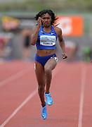 Apr 19, 2019; Torrance, CA, USA; Tori Franklin runs in the women's 100m during the 61st Mt. San Antonio College Relays at El Camino College.