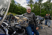 "Laurel Pierpont of Bolton, VT on her 1978 FLH shovel head as Pierpont and fellow riders await the start of the ""Ride to the Sky"" with the Winnipesaukee Chapter of Harley Davidson owners group on Thursday morning.  (Karen Bobotas/for the Laconia Daily Sun)"