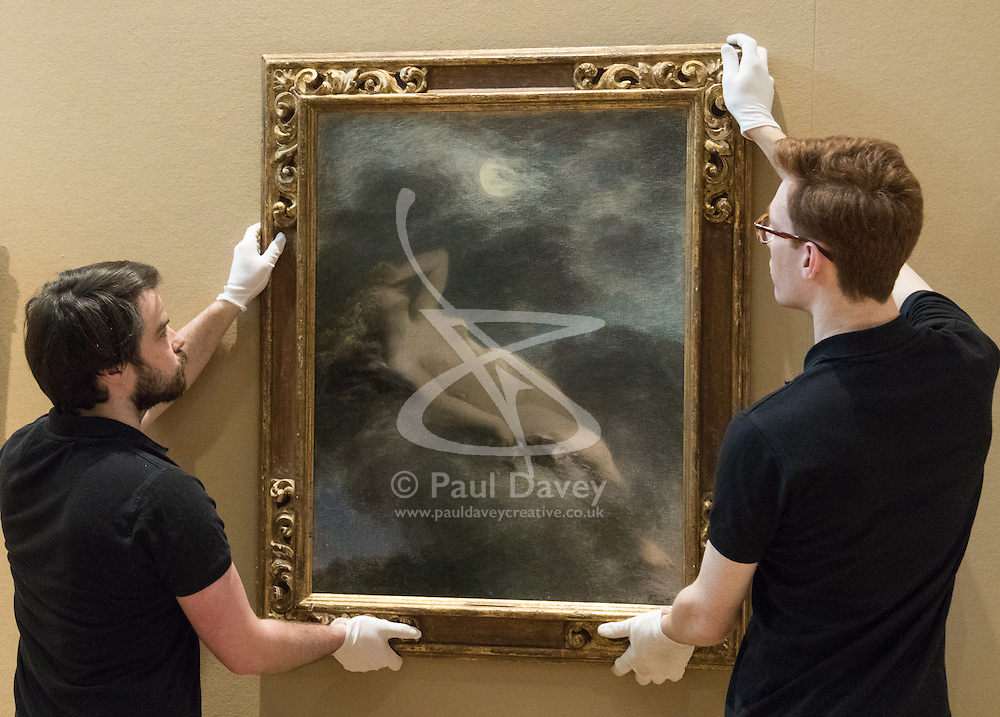 "Bonhams, Mayfair, London, February 26th 2016. Gallery technicians hang ""La Nuit"" by Henri Fantin-Latour estimated to fetch between £80-120,000 at the Bonhams 19th Century Art Sale in Mayfair, London on March 2nd 2016. ///FOR LICENCING CONTACT: paul@pauldaveycreative.co.uk TEL:+44 (0) 7966 016 296 or +44 (0) 20 8969 6875. ©2015 Paul R Davey. All rights reserved."