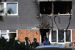 """© Licensed to London News Pictures. 07/08/2018. London, UK. The scene of a house fire in Deptford, eat London, in which a 7 year-old boy has died. Six fire engines were called to a """"suspicious"""" fire in the early hours of Tuesday morning. Photo credit: Rob Pinney/LNP"""