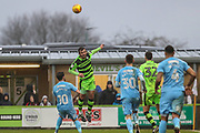 Forest Green Rovers Gavin Gunning(16) heads the ball clear during the EFL Sky Bet League 2 match between Forest Green Rovers and Coventry City at the New Lawn, Forest Green, United Kingdom on 3 February 2018. Picture by Shane Healey.