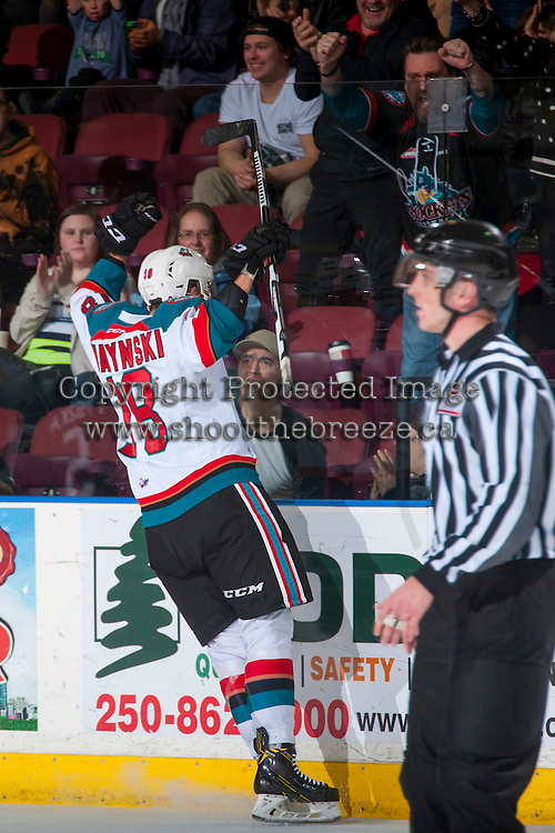 KELOWNA, CANADA - FEBRUARY 13: Carsen Twarynski #18 of the Kelowna Rockets celebrates a third period goal with fans against the Seattle Thunderbirds on February 13, 2017 at Prospera Place in Kelowna, British Columbia, Canada.  (Photo by Marissa Baecker/Shoot the Breeze)  *** Local Caption ***