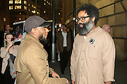 May 1, 2012- New York, United States- (L-R) Recording Artist/Actor Yasiin Bey (Formely known as Mos Def) and Recording Artist Kyp Malone of TV on the Radio attend Occupy Wall Street May Day Celebration with March/Parade down Broadway in New York City with calls for General Strike-with No Work-No Housework-No shopping-No School. Occupy Wall Street is a leaderless resistance movement with people of many colors, genders and political persuasions. Their belief holds that one thing we all have in common is that We Are The 99% that will no longer tolerate the greed and corruption of the 1%. We are using the revolutionary Arab Spring tactic to achieve our ends and encourage the use of nonviolence to maximize the safety of all participants.(Photo by Terrence Jennings).