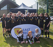 Jeanfield celebrate with the cup - Forfar Farmington (red) v Jeanfield Girls (black) - Under 17 East Region Girls League Cup Final at University Grounds, Riverside<br /> <br />  - &copy; David Young - www.davidyoungphoto.co.uk - email: davidyoungphoto@gmail.com