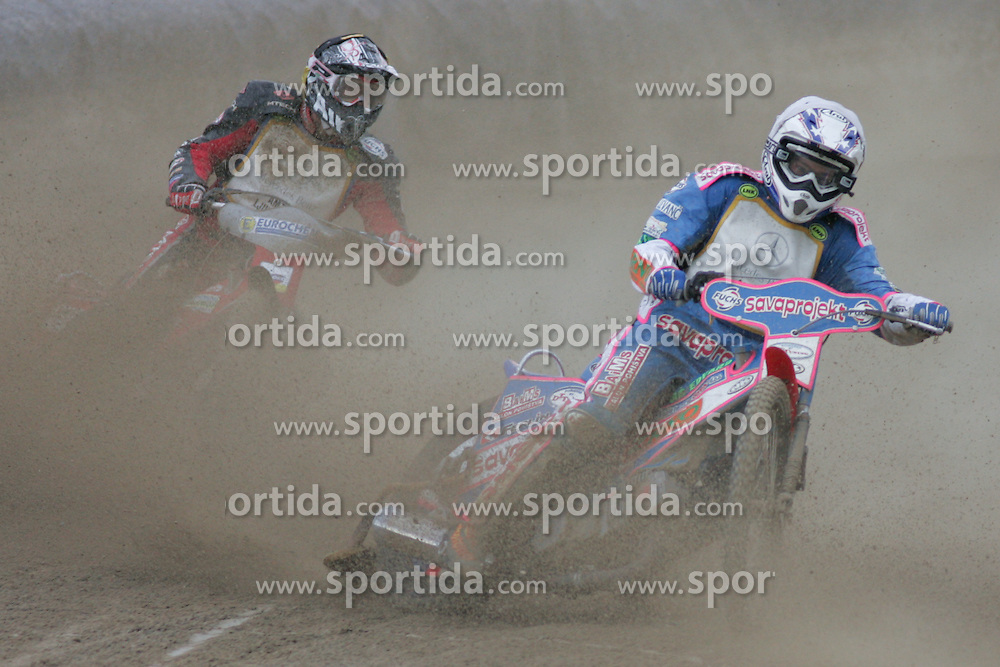 Guglielmo Franchetti of Italia and Mitija Duh of Slovenia at Speedway European Championship race semi finals of individuals, on June 19, 2010, in Sportni park Ilirije, Ljubljana, Slovenia. (Photo by Urban Urbanc / Sportida)