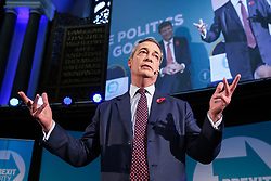 © Licensed to London News Pictures. 04/11/2019. London, UK. Brexit Party leader NIGEL FARAGE speaks at an event in The Emmanuel Centre, Westminster where the party's Prospective Parliamentary Candidates (PPC) for the 2019 general election to be held on 12 December 2019 are  introduced.  Photo credit: Dinendra Haria/LNP