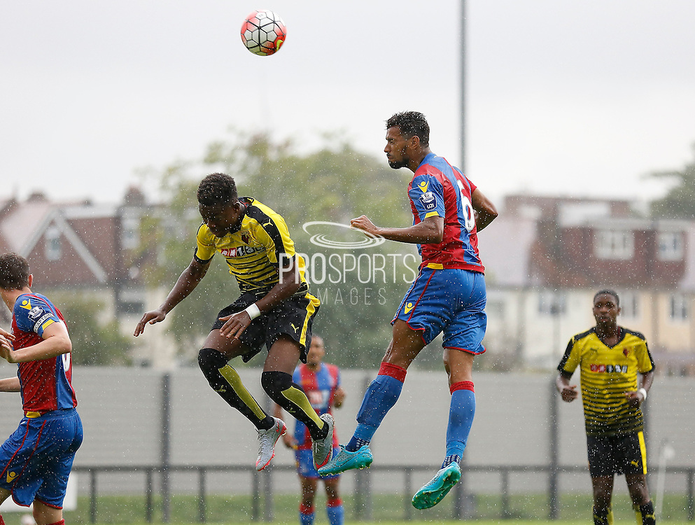 Luke Croll winning the header during the Final Thirds Development League match between U21 Crystal Palace and U21 Watford at Selhurst Park, London, England on 24 August 2015. Photo by Michael Hulf.