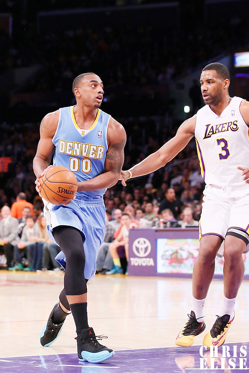 05 January 2014: Denver Nuggets power forward Darrell Arthur (00) drives past Los Angeles Lakers power forward Shawne Williams (3) during the Denver Nuggets 137-115 victory over the Los Angeles Lakers at the Staples Center, Los Angeles, California, USA.
