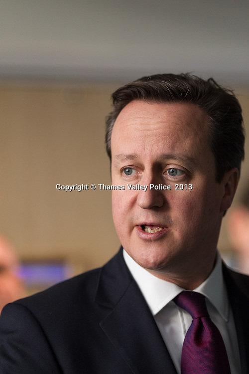 The Prime Minister, David Cameron, visits Thames Valley Police Headquarters to open the newly refurbished office block. Kidlington, UNITED KINGDOM. February 15 2013. <br /> Photo Credit: MDOC/Thames Valley Police<br /> &copy; Thames Valley Police 2013. All Rights Reserved. See instructions.