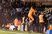 Blackburn Rovers goalkeeper Jason Steele (1) celebrate late equaliser goal scored by Blackburn Rovers forward Joao(18) during the EFL Sky Bet Championship match between Fulham and Blackburn Rovers at Craven Cottage, London, England on 14 March 2017. Photo by Sebastian Frej.