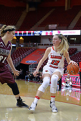 29 January 2017: Lauren Hartman defendes Millie Stevens during an College Missouri Valley Conference Women's Basketball game between Illinois State University Redbirds the Salukis of Southern Illinois at Redbird Arena in Normal Illinois.