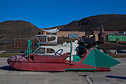 Home-made space car in Barentsburg, a Russian coal mining town in the Norwegian Archipelego of Svalbard. Once home to about 2000 miners and their families, less than 500 people now live here.
