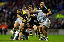 Harlequins Winger (#11) Ugo Monye is tackled by London Irish Prop (#3) Halani Aulika during the second half of the match - Photo mandatory by-line: Rogan Thomson/JMP - Tel: Mobile: 07966 386802 29/12/2012 - SPORT - RUGBY - Twickenham Stadium - London. Harlequins v London Irish - Aviva Premiership - LV= Big Game 5.