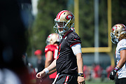 San Francisco 49ers quarterback C.J. Beathard (3) works out during the San Francisco 49ers training camp at Levi's Stadium in Santa Clara, California, on August 25, 2017. (Stan Olszewski/Special to S.F. Examiner)