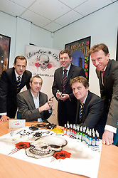 Managaing Director of Barber (DTS) Of Sheffield Ltd Tony Crane (second left) explains the uses of some of the Tattooing equipment supplied by his company   to Investors fromleft to right) Andy Dodd of PHD, Paul Betts and Wayne Thomas of EV group and James Dow of PHD..16  May 2012.Image © Paul David Drabble