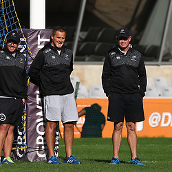 Jaco Pienaar (Assistant Coach) of the Cell C Sharks with Robert du Preez (Head Coach) of the Cell C Sharks and Sean Everitt (Assistant Coach) of the Cell C Sharks during The Cell C Sharks captain's run at Growthpoint Kings Park in Durban, South Africa. 29th June 2017(Photo by Agnes Browne Steve Haag Sports)<br /> <br /> images for social media must have consent from Steve Haag