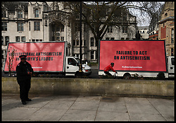 April 17, 2018 - London, London, United Kingdom - Labour anti-Semitism claims. Three advertising vans drive around Westminster with Three billboards posters on them in connection to the Labour anti-Semitism claims. (Credit Image: © Andrew Parsons/i-Images via ZUMA Press)