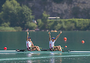 Aiguebelette, FRANCE.  Men's lightweight double sculls, FRA LM2X winning and celebrating, Stany DELAYRE  and Jeremie AZOU   2014 FISA World Cup II, 11:39:26  Sunday  22/06/2014. [Mandatory Credit; Peter Spurrier/Intersport-images]