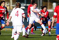 Football<br /> UEFA WU19 , Second Qualifying Round<br /> UKI Arena Jessheim 04.04.13<br /> England - Serbia<br /> Katie Zelem against Ana Popov<br /> Foto: Eirik Førde