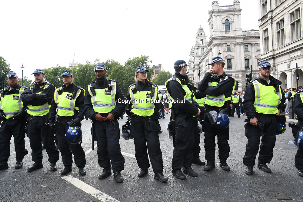 Hundreds Unity protest assembly at old Palace Yard march and rally at Whitehall against Tommy Robinson, Trump and the far-right at Old Palace Yard, London, UK. July 14 2018.