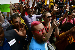 Bernie2020 campaign co-chair Sen. Nina Turner, joined by local politicians and hospital workers protest the imminent closure of Hahnemann University Hospital at a rally outside the Center City facilities in Philadelphia, PA on July 11, 2019.
