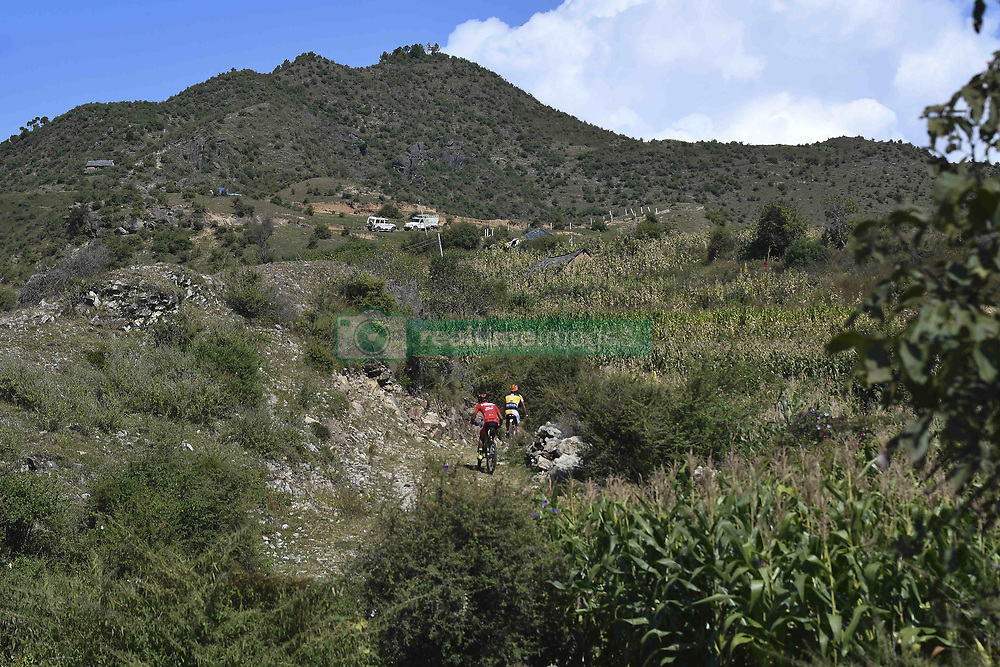 October 4, 2018 - Himachal Pradesh, India - Riders competes at the 14th edition of the Hero MTB Himalaya mountain bike race in the northern Indian state of Himachal Pradesh on 4th  October, 2018. The 14th edition of the annual cross country race is taking place over eight stages in the foothills of the Himalaya, started in Shimla on September 28, 2018 and finishing in Dharamshala on October 6,2018. (Credit Image: © Indraneel Chowdhury/NurPhoto/ZUMA Press)
