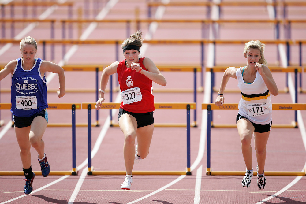 Sherbrooke, Quebec ---08/08/09---  Alysha Newman of Ontario competes in the 80 metre hurdles at the 2009 Legion Canadian Youth Track and Field Championships in Sherbrooke, Quebec, August 10, 2009..HO/ Athletics Canada (credit should read GEOFF ROBINS/Mundo Sport Images/ Athletics Canada)..