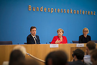 DEU, Deutschland, Germany, Berlin, 19.07.2019: Bundeskanzlerin Dr. Angela Merkel (CDU) bei der jährlichen Sommerpressekonferenz in der Bundespressekonferenz.