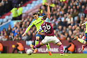 Aston Villa defender John Terry(26) tackles Derby County midfielder Tom Lawrence (10) during the EFL Sky Bet Championship match between Aston Villa and Derby County at Villa Park, Birmingham, England on 28 April 2018. Picture by Jon Hobley.