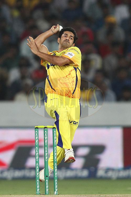 Mohit Sharma of the Chennai Super Kings sends down a delivery during the second semi final match of the Oppo Champions League Twenty20 between the Kings XI Punjab and the Chennai Superkings held at the Rajiv Gandhi Cricket Stadium, Hyderabad, India on the 2nd October 2014<br /> <br /> Photo by:  Shaun Roy / Sportzpics/ CLT20<br /> <br /> <br /> Image use is subject to the terms and conditions as laid out by the BCCI/ CLT20.  The terms and conditions can be downloaded here:<br /> <br /> http://sportzpics.photoshelter.com/gallery/CLT20-Image-Terms-and-Conditions-2014/G0000IfNJn535VPU/C0000QhhKadWcjYs