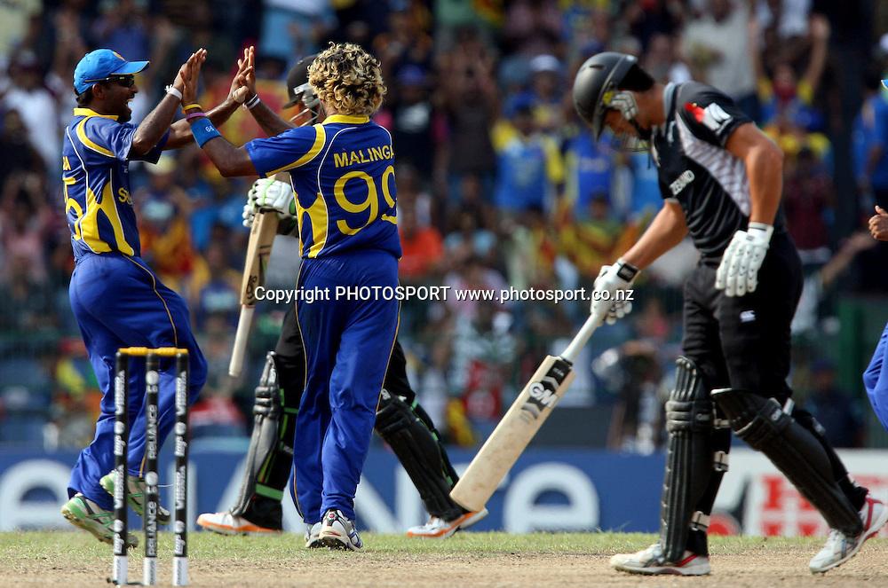Sri Lankan bowler Lasith Malinga celebrates with team mates New Zealand Martin Guptill wicket during ICC Cricket World Cup - 1st Semi-Final New Zealand vs Sri Lanka Played at R Premadasa Stadium, Colombo, 29 March 2011 - day/night (50-over match)