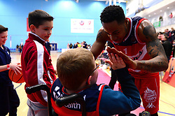 Panos Mayindombe of Bristol Flyers greets a fan at the end of the day - Photo mandatory by-line: Dougie Allward/JMP - 17/11/2017 - BASKETBALL - SGS Wise Arena - Bristol, England - Bristol Flyers v London Lions - BBL Championship