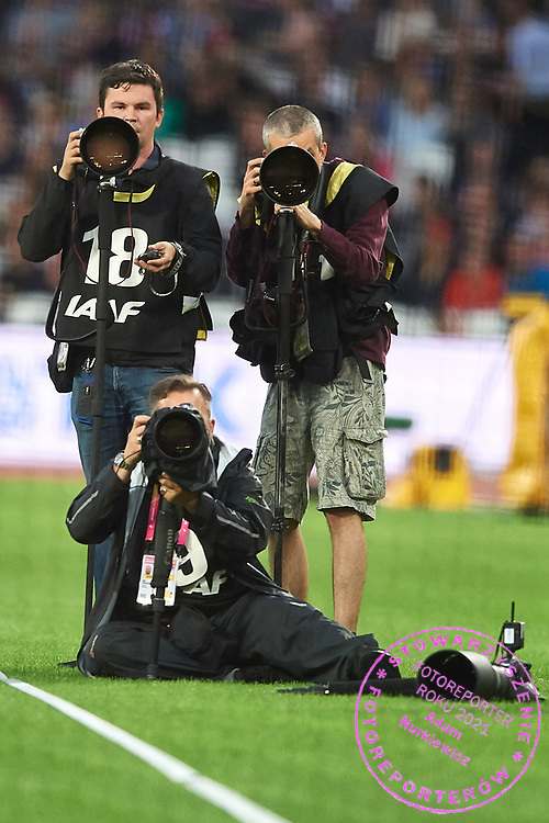 Great Britain, London - 2017 August 07: Photographers Radoslaw Joswiak (Cyfrasport Agency) and Andrzej Banas (Polska Presse Publisher) work during IAAF World Championships London 2017 Day 4 at London Stadium on August 07, 2017 in London, Great Britain.<br /> <br /> Mandatory credit:<br /> Photo by &copy; Adam Nurkiewicz<br /> <br /> Adam Nurkiewicz declares that he has no rights to the image of people at the photographs of his authorship.<br /> <br /> Picture also available in RAW (NEF) or TIFF format on special request.<br /> <br /> Any editorial, commercial or promotional use requires written permission from the author of image.