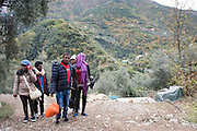 November 9, 2016 - Breil-sur-Roya, France:  Eritrean migrants who  arrived through a  tunnel by foot in the Roya valley from Italy - a 7-hour walk arrive at their temporary shelter with C&eacute;dric Herrou. <br /> <br /> 9 novembre 2016 - Breil-sur-Roya, France: Les migrants &eacute;rythr&eacute;ens qui sont arriv&eacute;s &agrave; pied par un tunnel ferroviaire dans la vall&eacute;e de la Roya depuis l'Italie - une marche de 7 heures - marchent vers leur abri temporaire chez Cedric Herrou, membre d'un r&eacute;seau qui aide des migrants.