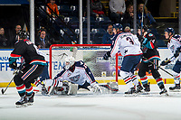 KELOWNA, CANADA - OCTOBER 13: Talyn Boyko #31 of the Tri-City Americans makes a third period save against the Kelowna Rockets  on October 13, 2018 at Prospera Place in Kelowna, British Columbia, Canada.  (Photo by Marissa Baecker/Shoot the Breeze)  *** Local Caption ***
