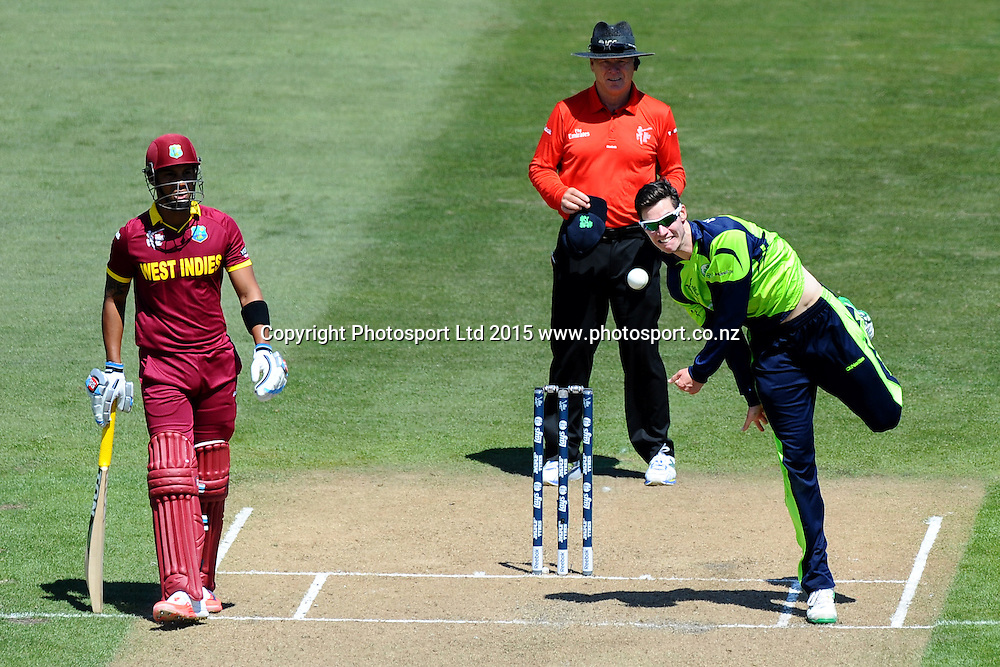 Ireland George Dockrel during the 2015 ICC Cricket World Cup match between West Indies and Ireland. Saxton Oval, Nelson, New Zealand. Monday 16 February 2015. Copyright Photo: Chris Symes / www.photosport.co.nz
