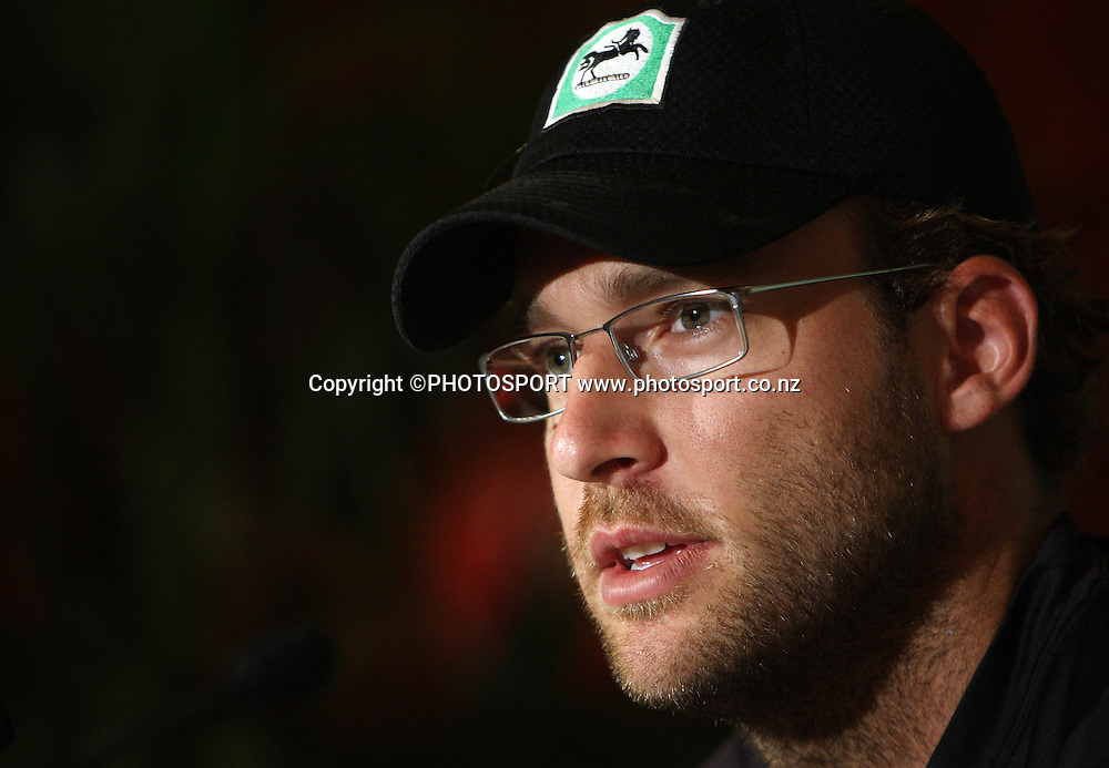 New Zealand captain Daniel Vettori at a press conference ahead of tomorrow's 1st game of the 3 match Chappell Hadlee one day cricket series.<br />