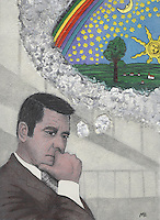 Illustration of a bored-looking man in a suit, daydreaming in a grey office.  The dream is in the form of a cloud bubble and inside is a colorful child-like picture of idyllic countryside bordered by a rainbow above, stars, sun and moon.