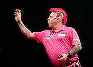 Peter Wright in action during his final match against Michael van Gerwen in the Betway Premier League Darts at the Brighton Centre in Brighton, East Sussex. PRESS ASSOCIATION Photo. Picture date: Thursday 15th May, 2014. Photo credit should read: Chris Ison/PA Wire.
