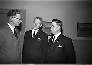 15/11/1965<br /> 11/15/1965<br /> 15 November 1965<br /> Press conference regarding Material handling Exhibition at the Shelbourne Hotel, Dublin. Picture shows (l-r): Mr Gerard O'Dowd, secretary, Palgrave Murphy; Mr Desmond Bradley, Vice Chairman of Institute of Materials Handling and Mr Benedict J. Daly, President of the National Industrial Safety Organisation and senior inspector of factories in the Department of Industry and Commerce.
