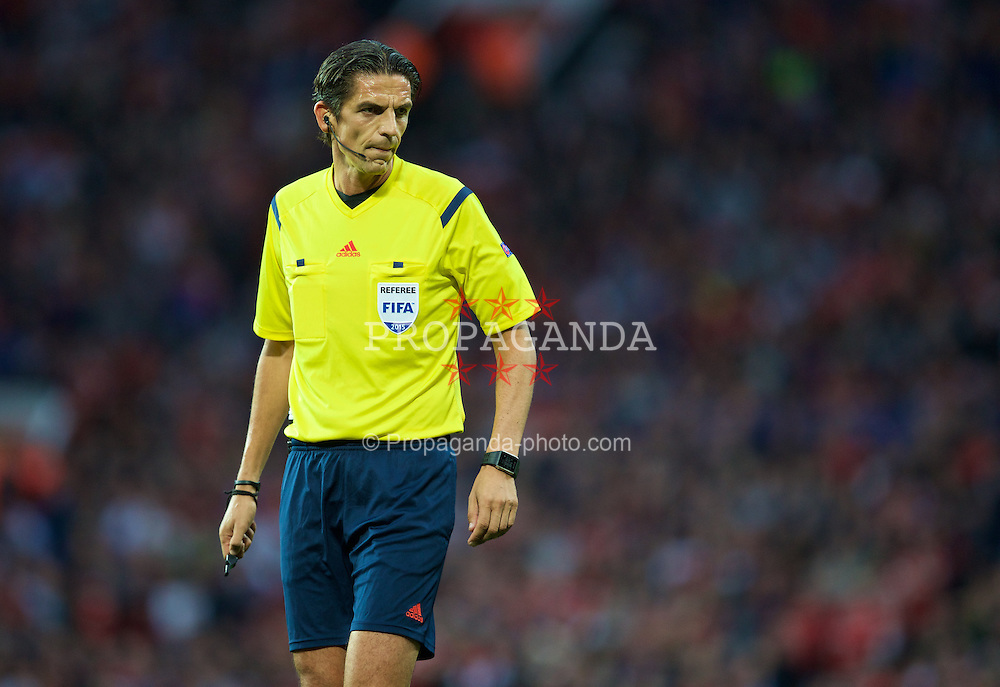 MANCHESTER, ENGLAND - Tuesday, August 18, 2015: Referee Deniz Aytekin takes charge  during the UEFA Champions League Play-Off Round 1st Leg match between Manchester United and Club Brugge at Old Trafford. (Pic by David Rawcliffe/Propaganda)