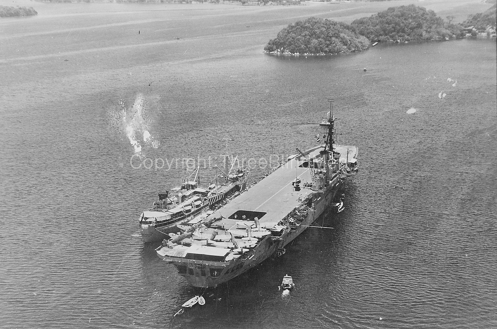 Imagery Scanned from Navy Historic Archive<br /> HMAS VENGEANCE at Trincomalee, Ceylon