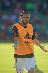 OSLO, NORWAY - Wednesday, August 5, 2009: Liverpool's Andrea Dossena warms-up before a preseason match against FC Lyn Oslo at the Bislett Stadion. (Pic by David Rawcliffe/Propaganda)